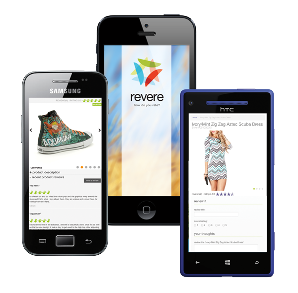 Mobile phones showing different screens of Revere reviews