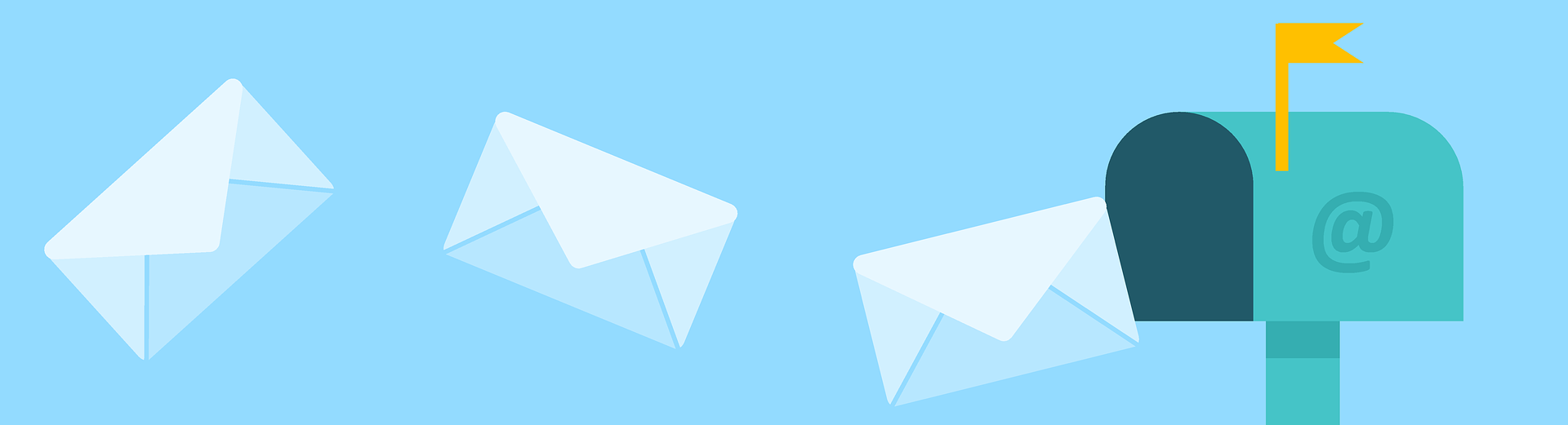 Illustration of mail flying into a mailbox