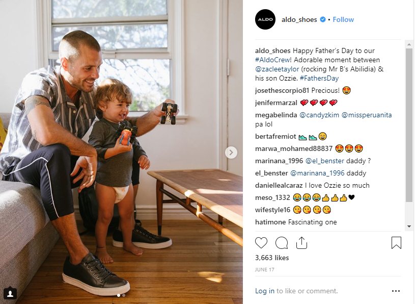 Aldo instagram post featuring a father and his son