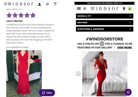 Screenshots from Windsor eCommerce site.