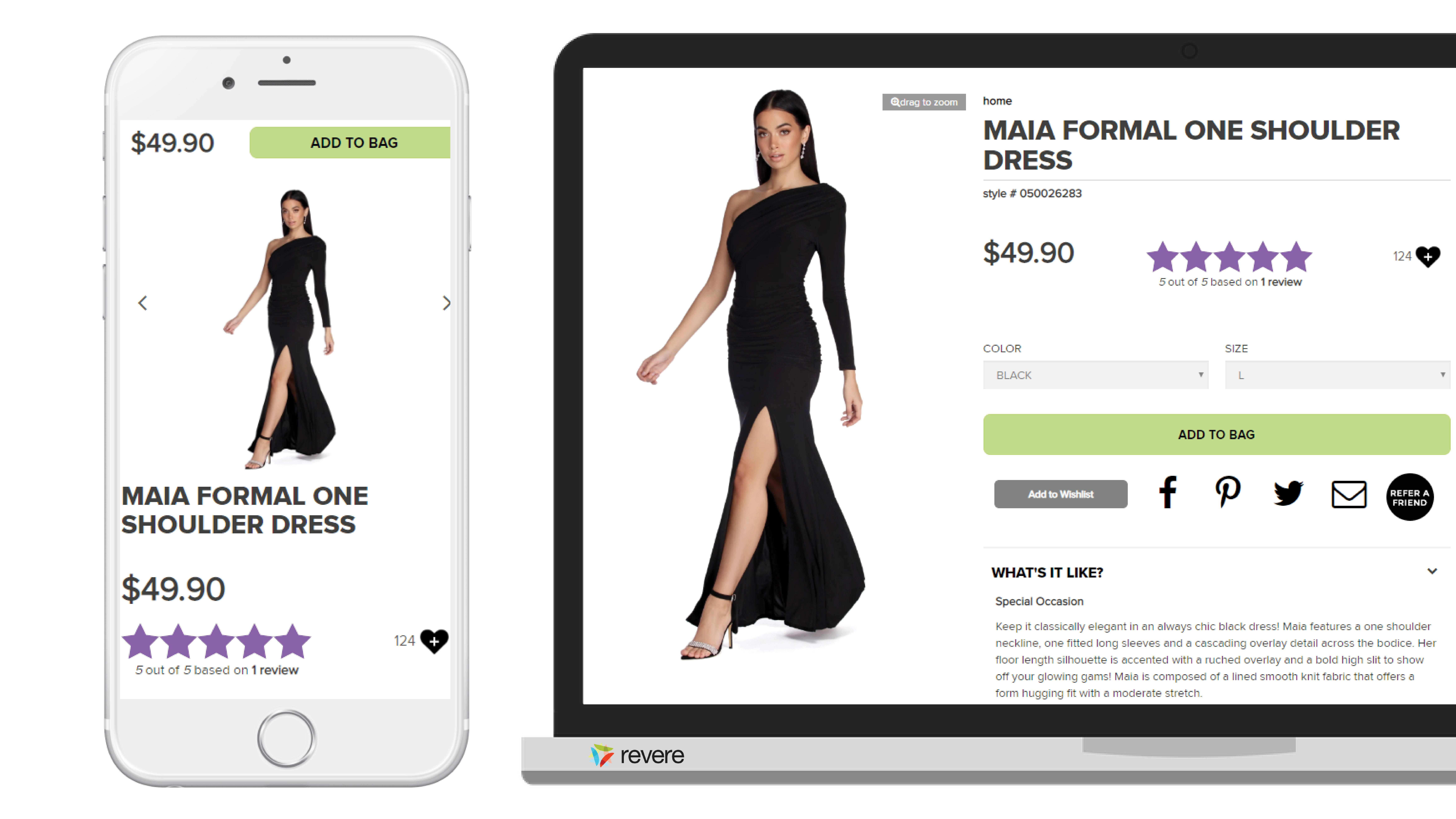 Fast fashion retailer's eCommerce site, featuring ratings and reviews.